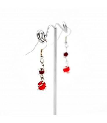 Korálky Janka náušnice červené s klíckami