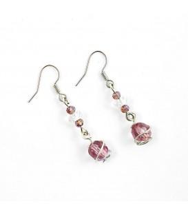 Jednoduché náušnice s perlou - fialové