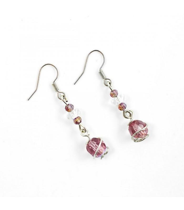 Náušnice Korálky Janka jednoduché s fialovou perlou NA149, Barva Fialová
