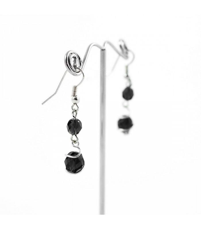 Náušnice Korálky Janka černo stříbrné s vlnou NA152, Barva Černá