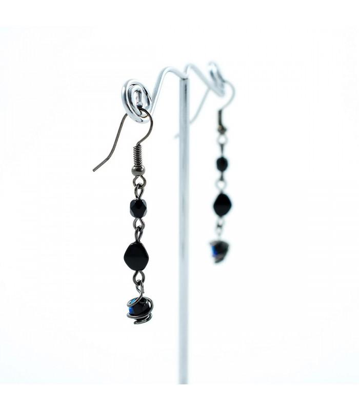 Korálky Janka náušnice černé s korálky a klíckou dlouhé c5a3cba4966
