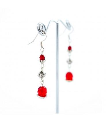 Korálky Janka náušnice červené se stříbrným ornamentem