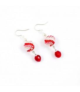Korálky Janka náušnice červenobílé kuličky