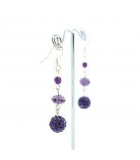 Dvouřadý fialový náhrdelník s ohňovkami