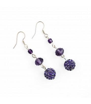 Korálky Janka náušnice s třpytivými fialovými kamínky
