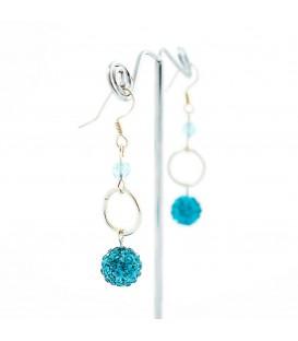 Korálky Janka náušnice s tyrkysovými kamínky a kroužkem