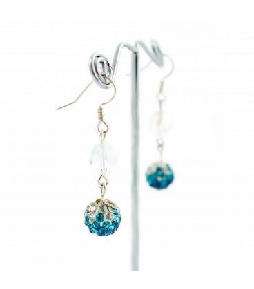 Korálky Janka náušnice s třpytivými modrobílými kamínky