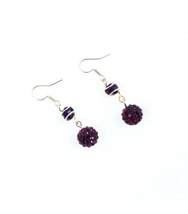 Korálky Janka náušnice fialové s kamínky a klíckou