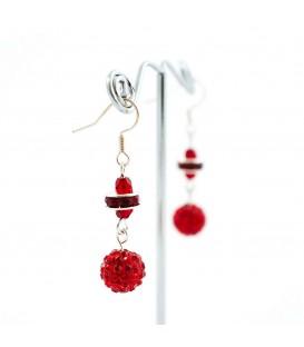 Korálky Janka náušnice s třpytivými červenými kamínky II