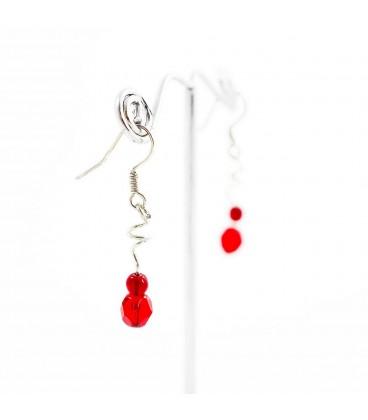 Korálky Janka náušnice červené s klíckou II