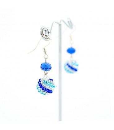 Korálky Janka náušnice modrostříbrné kuličky