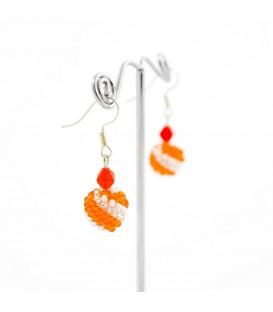 Korálky Janka náušnice oranžovobílé kuličky