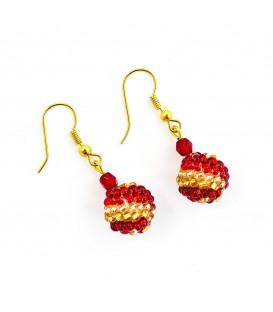 Korálky Janka náušnice červenozlaté kuličky