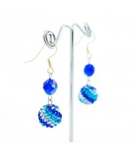 Korálky Janka náušnice modrobílé kuličky