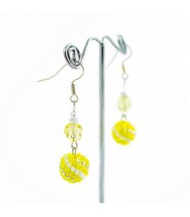 Korálky Janka náušnice žlutobílé kuličky s kamínky