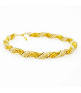 Korálky Janka náhrdelník zlatobílá spirála