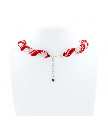 Korálky Janka náhrdelník červenobílá spirála
