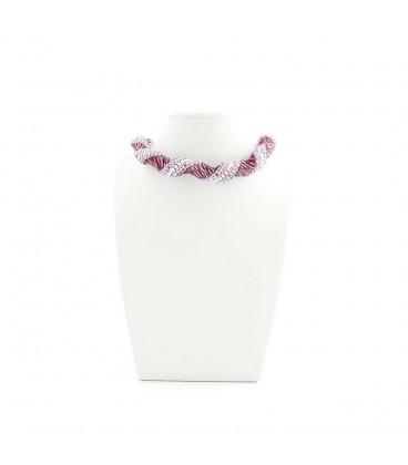 Korálky Janka náhrdelník fialovostříbrná spirála