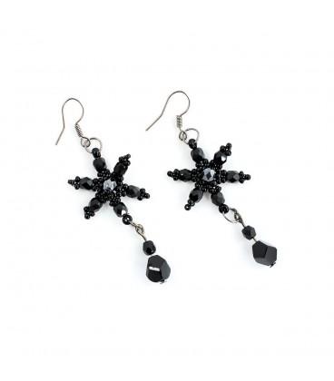 Korálky Janka náušnice černá plesová hvězda