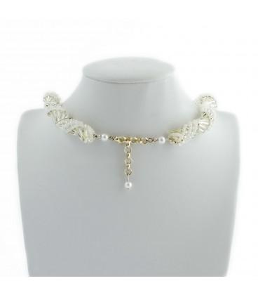 Korálky Janka náhrdelník bílostříbrná spirála