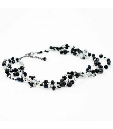 Korálky Janka náhrdelník černostříbrná motanice