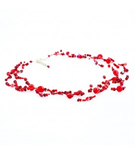 Korálky Janka náhrdelník tmavě červená motanice