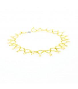 Korálky Janka náhrdelník plesový zlatobílý