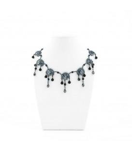 Korálky Janka náhrdelník plesový stříbrný