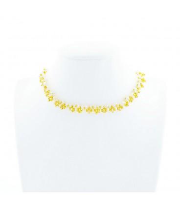 Korálky Janka náhrdelník zlatobílý kytičkovaný