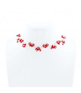 Korálky Janka náhrdelník červenobílý kytičkovaný