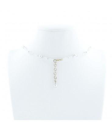 Korálky Janka náhrdelník plesový stříbrnobílý