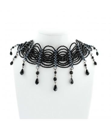 Korálky Janka náhrdelník plesový černý s oválky