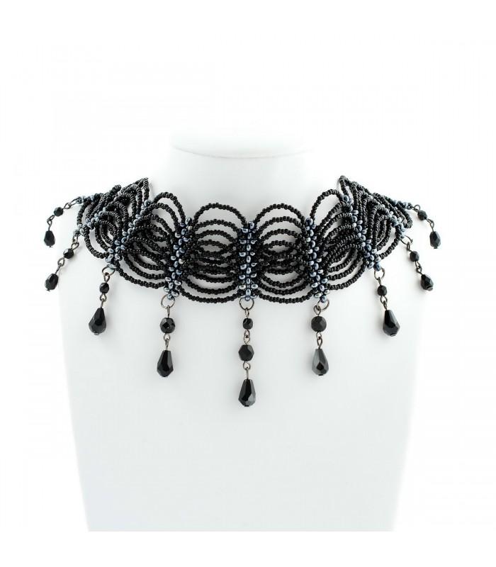 47a45e18d Korálky Janka náhrdelník plesový černý s oválky