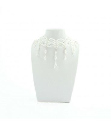 Korálky Janka náhrdelník plesový bílý s oválky