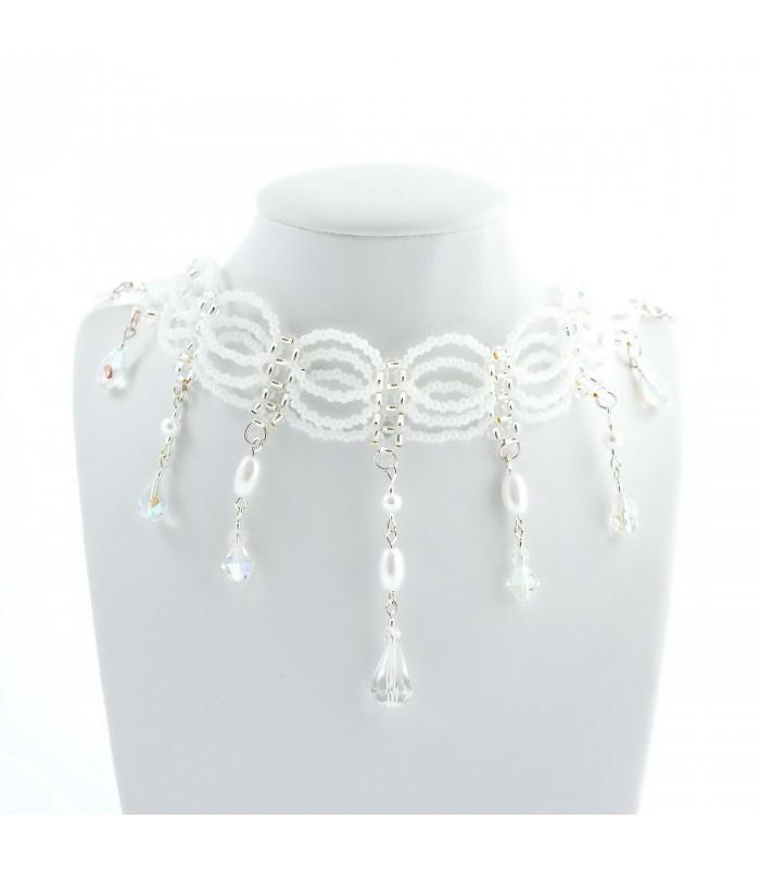 69e5bd39c Korálky Janka náhrdelník plesový bílý s oválky
