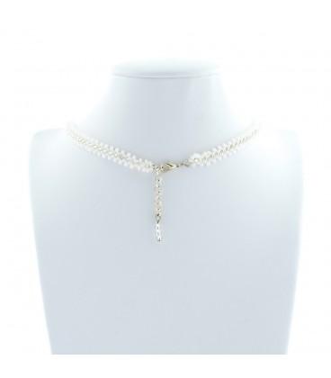 Korálky Janka náhrdelník úzký stříbrnobílý pásek