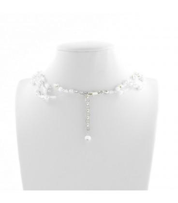 Korálky Janka náhrdelník stříbrnobílá motanice