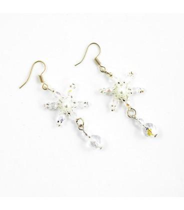 Korálky Janka náušnice bílá plesová hvězda
