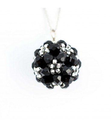 Korálky Janka náhrdelník stříbrnočerná kulička