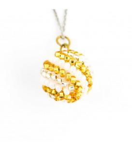 Korálky Janka náhrdelník zlatobílá kulička