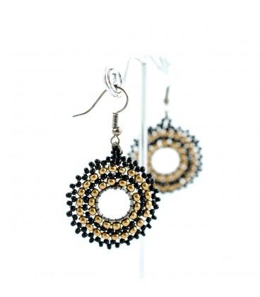 Korálky Janka náušnice černozlaté kruhy s háčkem