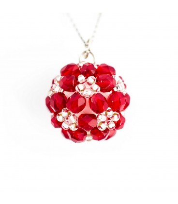 Korálky Janka náhrdelník červenostříbrná kulička