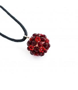 Korálky Janka náhrdelník červenočerná kulička