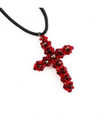 Korálky Janka náhrdelník černostříbrný křížek