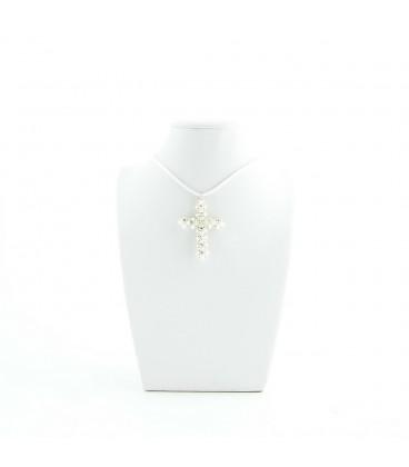 Korálky Janka náhrdelník bílostříbrný křížek