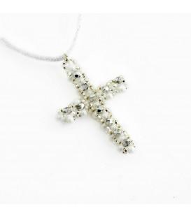 Korálky Janka přívěsek bílostříbrný křížek