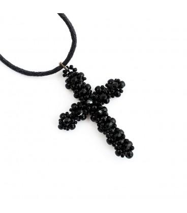 Korálky Janka přívěsek černostříbrný křížek