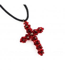 Korálky Janka přívěsek červenostříbrný křížek