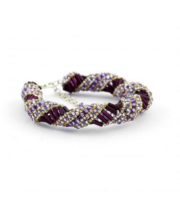 Korálky Janka náramek fialovostříbrný spirálový