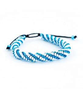 Korálky Janka náramek modrobílá spirála